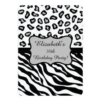 Black White Gray Zebra Leopard Skin 30th Birthday Card