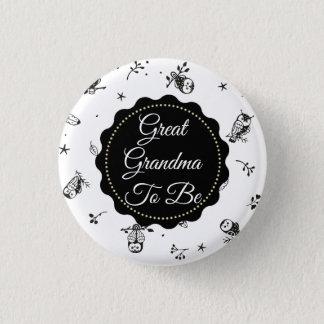 Black & White Great Grandma to be Owl  Button
