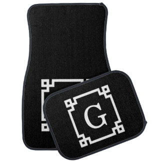 Black White Greek Key #2 Framed Monogram Car Mat