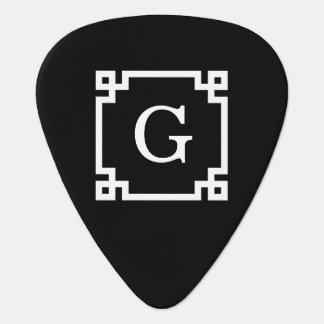 Black White Greek Key #2 Framed Monogram Guitar Pick