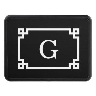 Black White Greek Key #2 Framed Monogram Hitch Cover