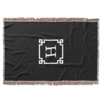 Black White Greek Key #2 Framed Monogram Throw