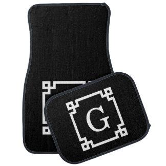 Black White Greek Key #2 Framed Monogram Floor Mat
