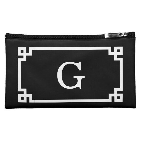 Black White Greek Key Frame #2 Initial Monogram Makeup Bag