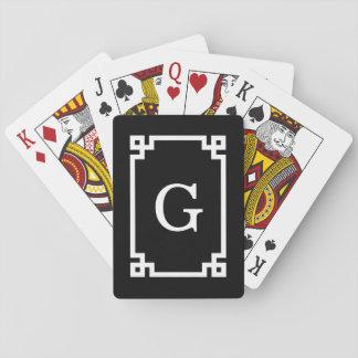 Black White Greek Key Frame #2 Initial Monogram Playing Cards
