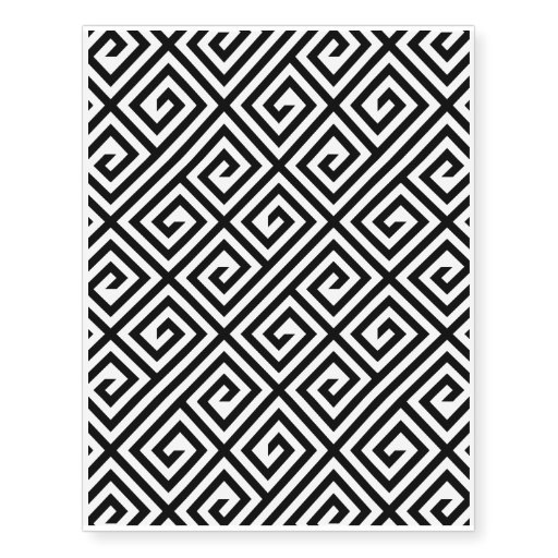 black white greek key pattern temporary tattoo temporary tattoos zazzle. Black Bedroom Furniture Sets. Home Design Ideas
