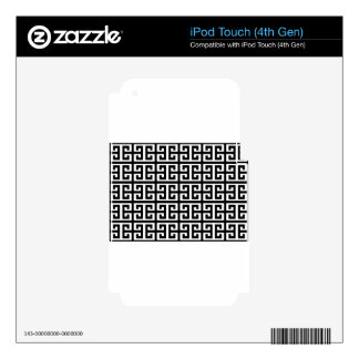 black white greek key skin for iPod touch 4G