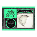 Black white green baby boy photo announcements