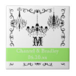 Black, White, Green Chandelier  Personalized Tile