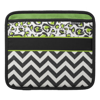 Black, White, Green, Chevron, Animal Pattern iPad Sleeve