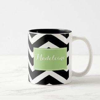 Black White Green chevron custom name Two-Tone Coffee Mug