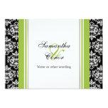 Black white green damask wedding engagement card