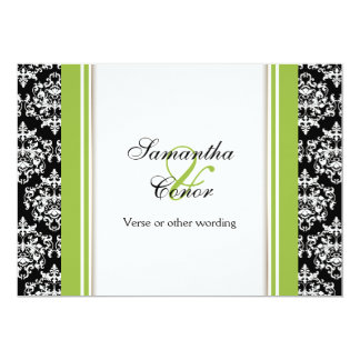 Black white green damask wedding engagement card