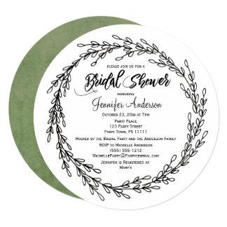 Black White Green Floral Botanical Bridal Shower Card