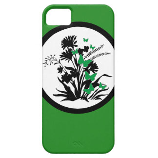 Black white green floral butterfly iphone 5 case