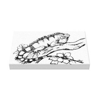 Black & White Green Iguana Canvas Print