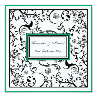 "Black, White & Green Ornate Swirls Wedding Invite 5.25"" Square Invitation Card"