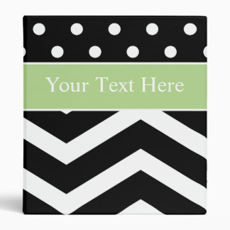 Black White Green Pattern Custom Binder