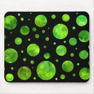 Black & White Green Polka Dot Mousepad