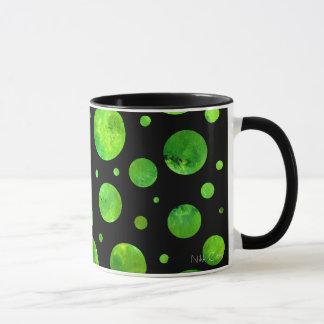 Black & White Green Polka Dots Mug