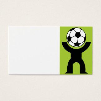 BLACK,WHITE GREEN SOCCER BALL HEAD SPORTS LOGO ICO BUSINESS CARD