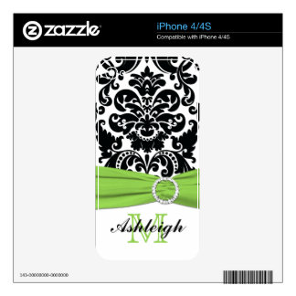 Black White Green Stripes iPhone4/4s Skin Decals For The iPhone 4S