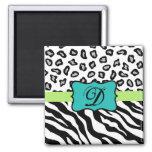 Black White Green & Turquoise Zebra & Cheetah Skin 2 Inch Square Magnet
