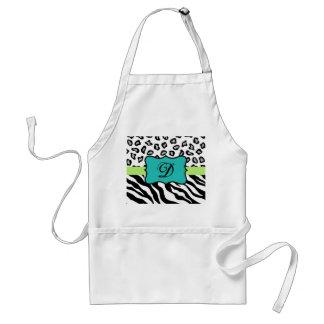 Black White Green & Turquoise Zebra & Cheetah Skin Adult Apron