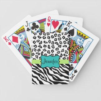 Black White Green & Turquoise Zebra & Cheetah Skin Bicycle Playing Cards