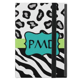 Black White Green & Turquoise Zebra & Cheetah Skin Cover For iPad Mini