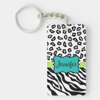 Black White Green & Turquoise Zebra & Cheetah Skin Double-Sided Rectangular Acrylic Keychain