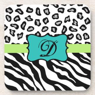 Black White Green & Turquoise Zebra & Cheetah Skin Drink Coaster