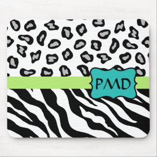 Black White Green & Turquoise Zebra & Cheetah Skin Mouse Pad
