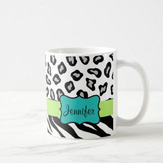 Black White Green & Turquoise Zebra & Cheetah Skin Classic White Coffee Mug