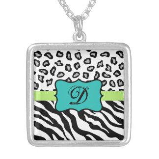 Black White Green & Turquoise Zebra & Cheetah Skin Necklaces