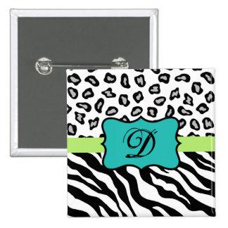 Black White Green & Turquoise Zebra & Cheetah Skin Pinback Button