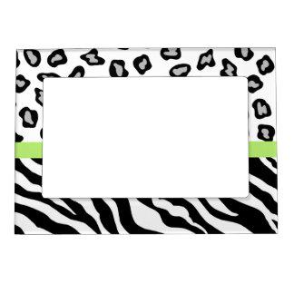 Black White Green Zebra and Leopard Skin Photo Photo Frame Magnet