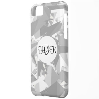 Black white grey angles graphic monogram on white case for iPhone 5C