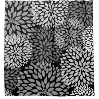 Black White Grey Shower Curtains Zazzle - Black and white flower shower curtain