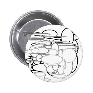 Black White Grey Circles, Digital Art by Kids :) Button