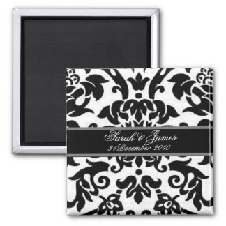 Black white & grey damask save the date magnet