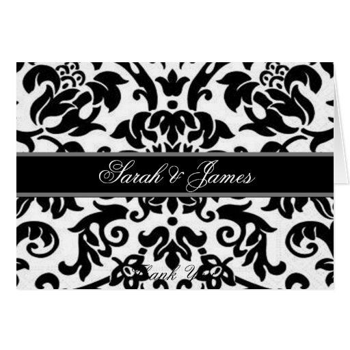 Black white & grey damask Wedding invite Greeting Card