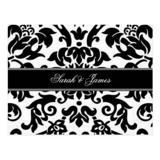 Black white & grey damask Wedding RSVP Postcard