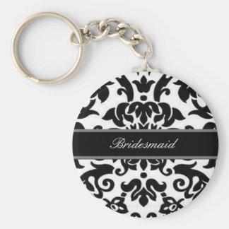Black white & grey damask Wedding set Keychain