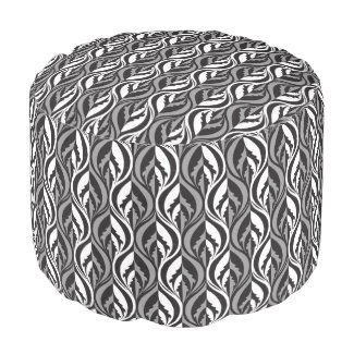 Black white grey modern lux leaf pattern pouf