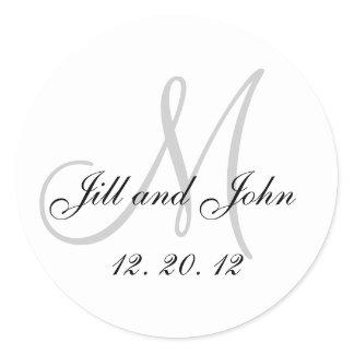 Black White Grey Monogram 2012 Wedding Sticker