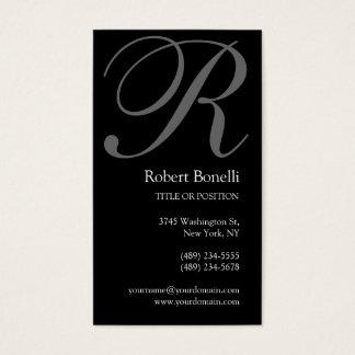 Black White Grey Monogram Business Card