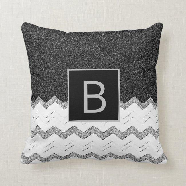 Black White Grey Monogram Chevron Modern Throw Pillow