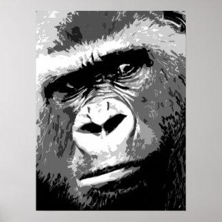 Black White Grey Pop Art Gorilla Portrait Poster