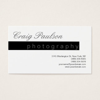 Black White Grey Script Photography Business Card